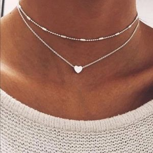 Jewelry - Dainty Silver Heart Charm layered necklace